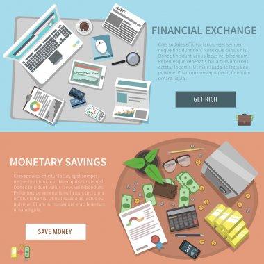 Bank Horizontal Banner Set