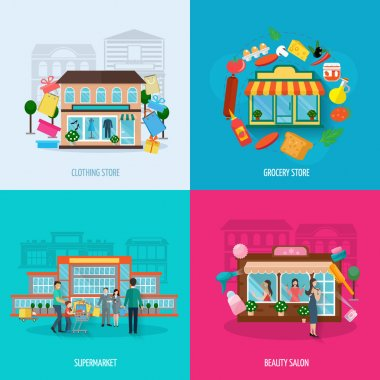 Different stores icons set