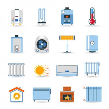 Heating Flat Color Icon Set