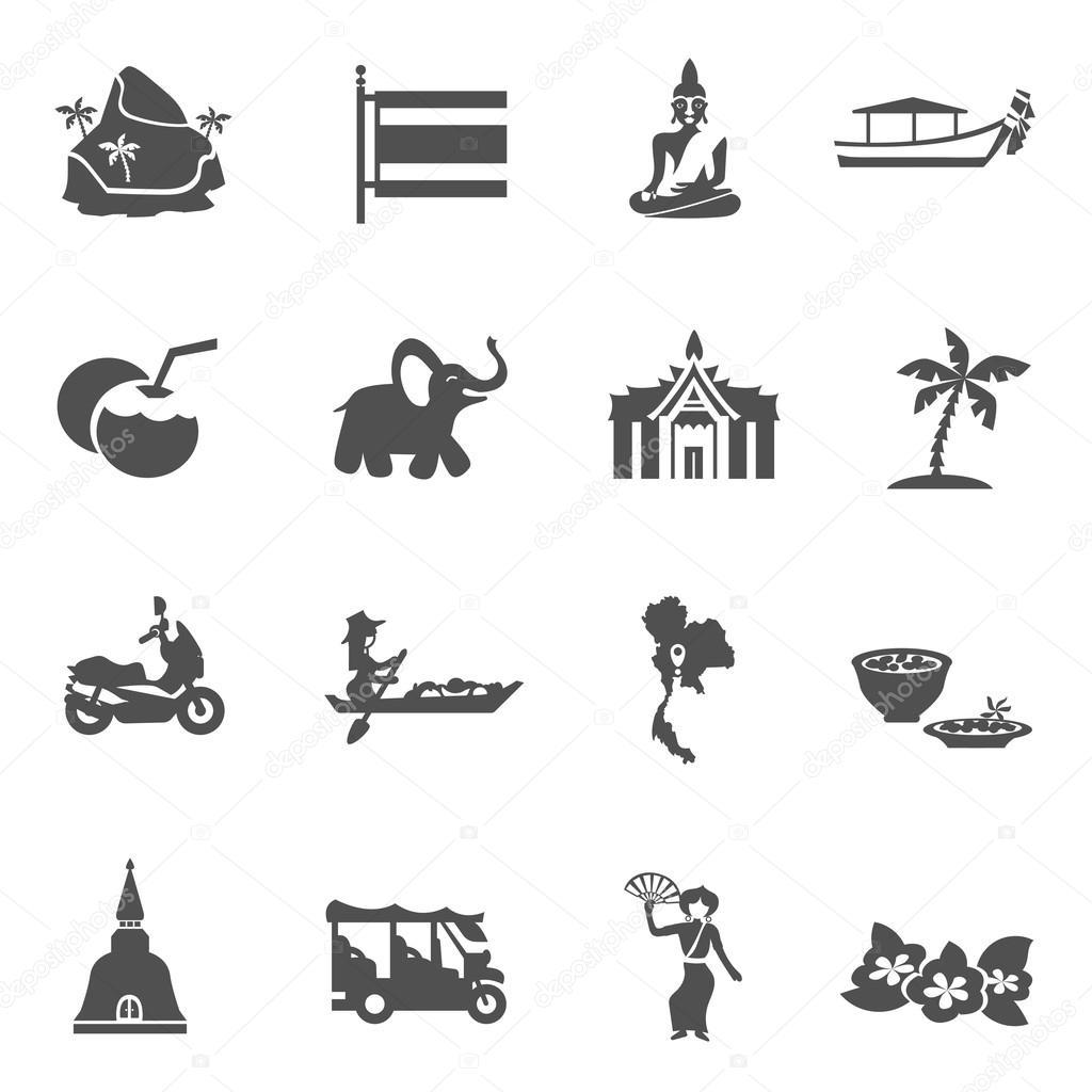 Thailand Travel Icons Set