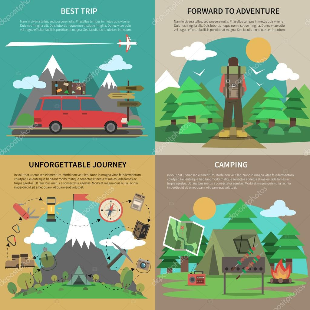 Hiking banner 4 flat icons square