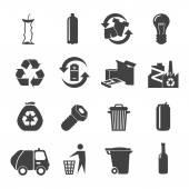 Fotografia Set di icone di materiali riciclabili