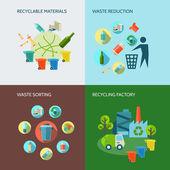 Fotografia Set di icone di riduzione rifiuti e riciclaggio