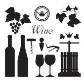 Fotografia Collezione di icone del vino nero