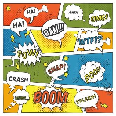 Emotional And Sound Comic Bubbles Set