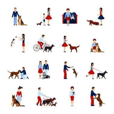 People playing and walking with different breeds of dogs set isolated vector illustration clip art vector