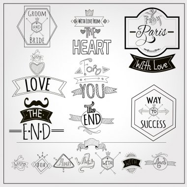 Retro doodle catchwords emblems whiteboard collection