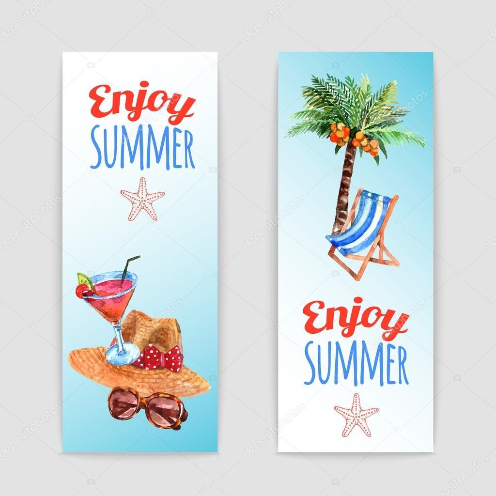 Tropical vacation travel banners set