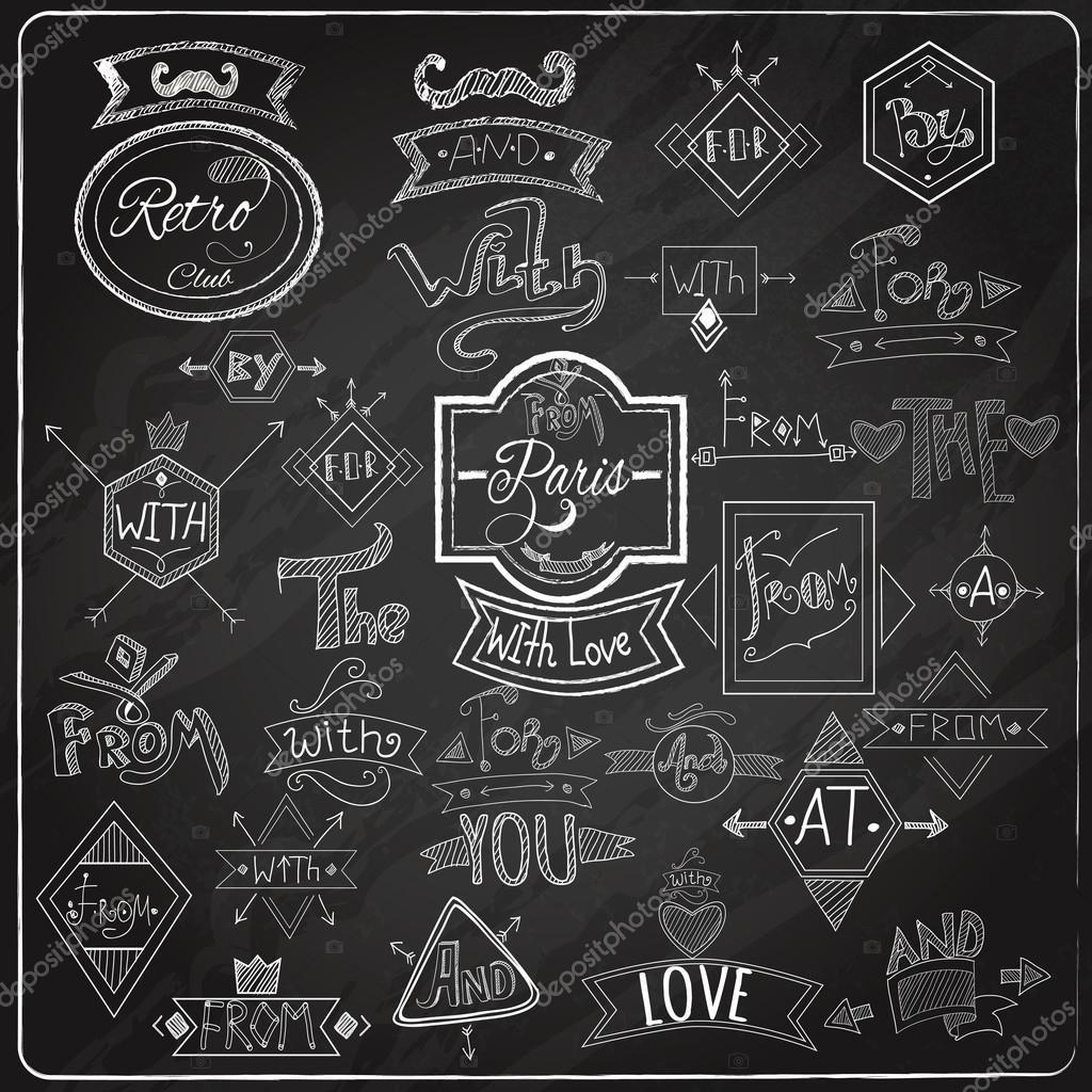 catchwords blackboard chalk design stock vector macrovector