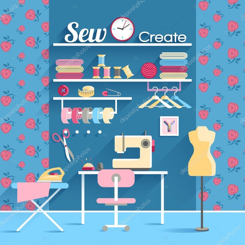 Cartaz De Projeto Costura Sala Conceito Vetores De Stock  ~ Posters Para Imprimir Quarto E Guarda Roupa Para Quarto