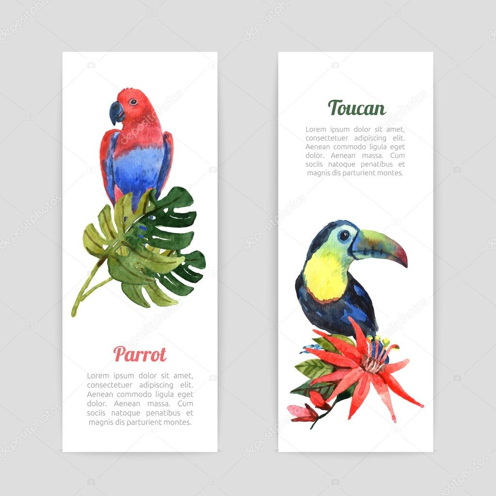 Tropical birds watercolor banners set