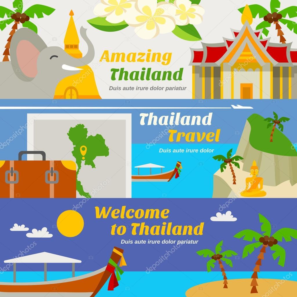 Thailand Travel Banners Set