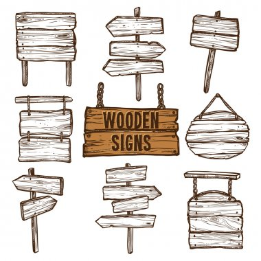 Wooden Signs Sketch Set