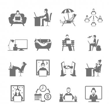 Freelance Flat Icon Set