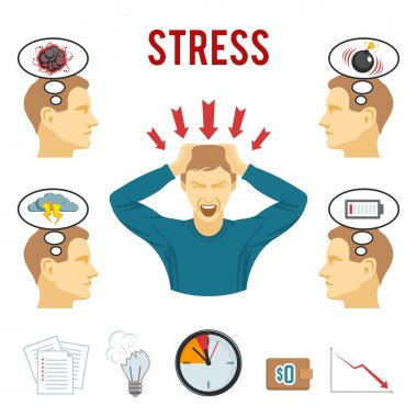 Mental disorder and stress icons set
