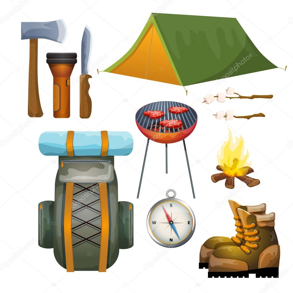Summer Vacation Outdoor Camping Gear And Accessories Pictograms Collection With Backpack Campfire Fuel Abstract Vector Illustration By