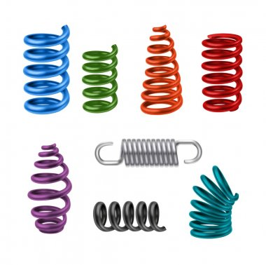 Realistic Metal Springs Colored