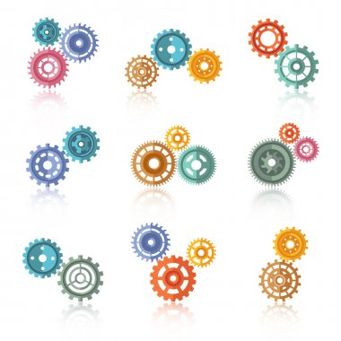 Connected Color Gears Icons Set