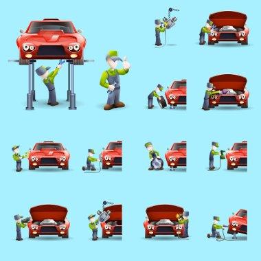Auto mechanic flat icons set