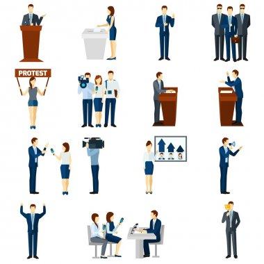 Politics flat icons set