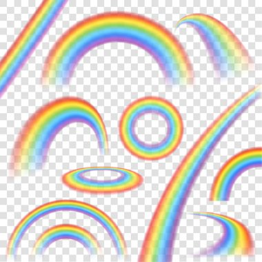Rainbows in different shape realistic set on transparent background isolated vector illustration clip art vector