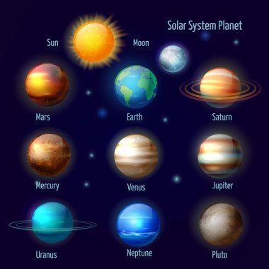 Solar system planets pictograms set