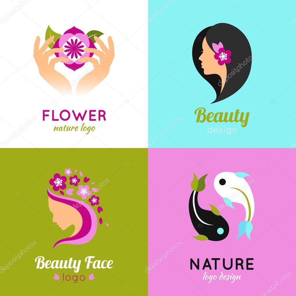 Beauty concept design 4 flat square