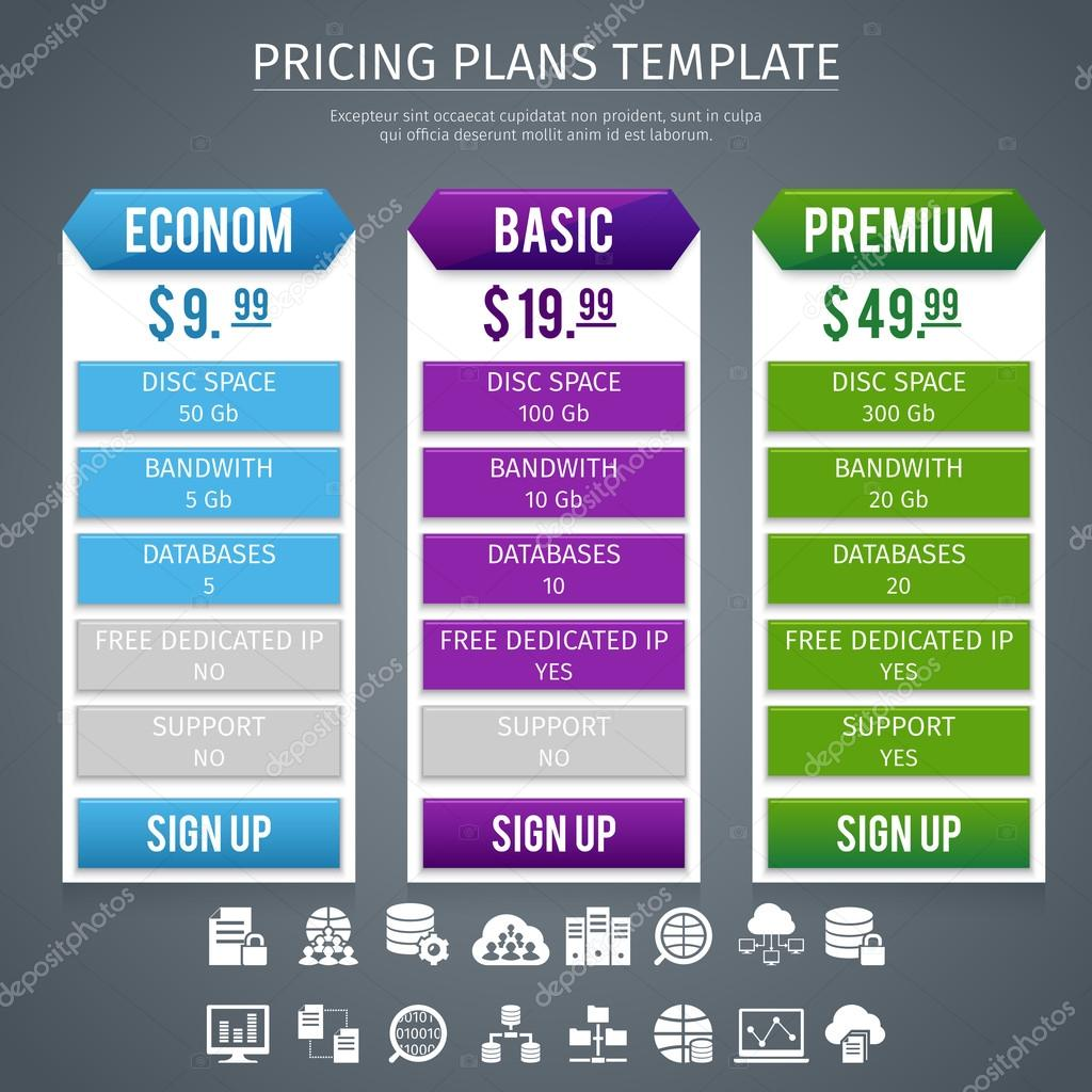 software pricing plans template stock vector macrovector 82164390