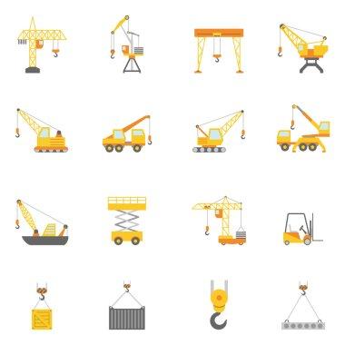 Building construction crane flat icons set