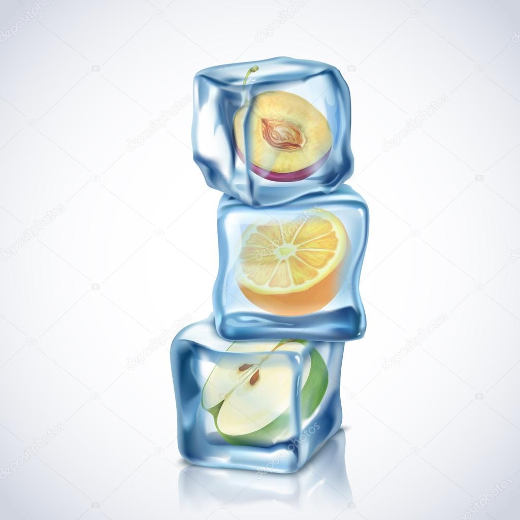 Ice Cubes With Fruits