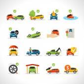 Fotografie Auto Versicherung Icons set