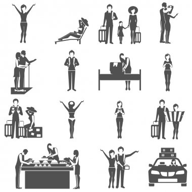International tourism travelling black icons set