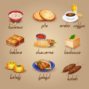Arabic Food Icons Set