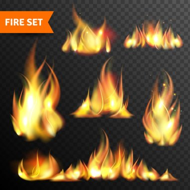 Fire glowing flames icons set