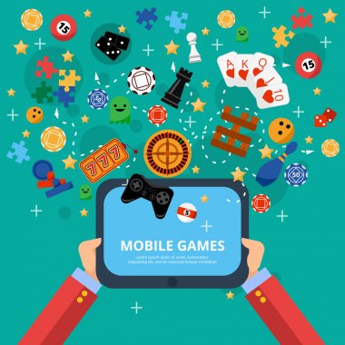 Mobile gambling games of fortune poster with long hands holding electronic device flat abstract isolated vector illustration stock vector