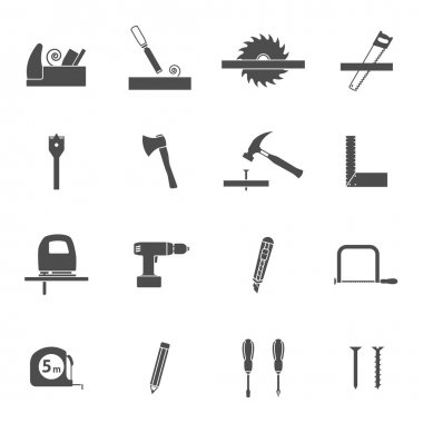 Carpentry tools for wooden house construction black  icons set with handsaw and hammer abstract vector isolated illustration clip art vector