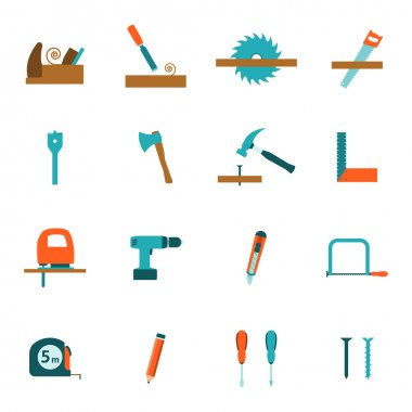 Carpentry tools flat icons set