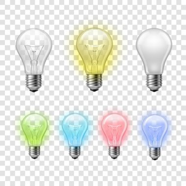 Rainbow transparent light bulbs set background