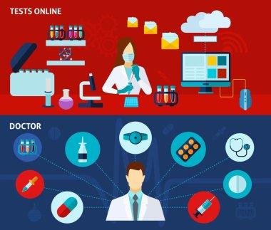 Medical laboratory 2 flat banners set