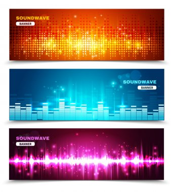Equalizer sound waves display banners set