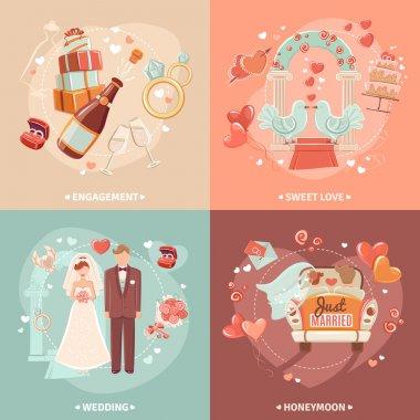 Wedding concept 4 flat icons square