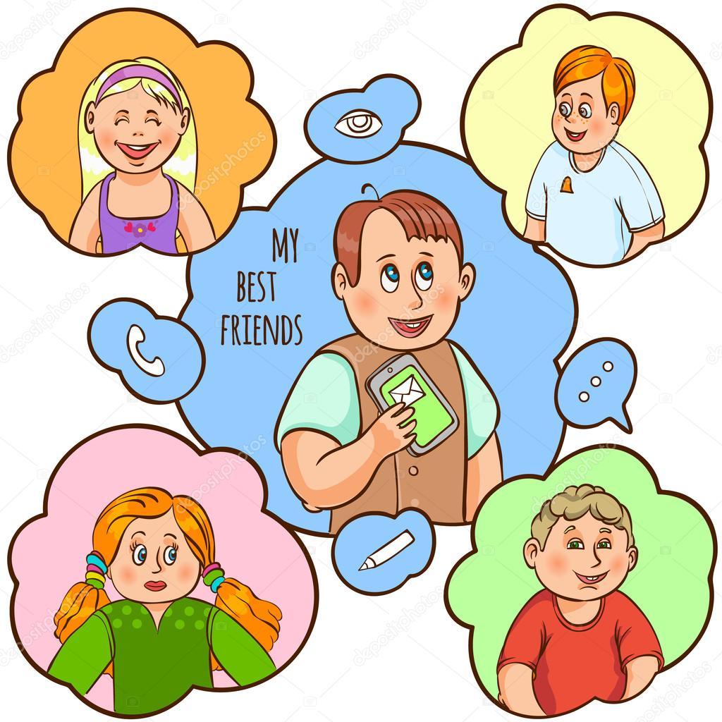 Dibujos Amistad Animados Concepto De Dibujos Animados De Amistad