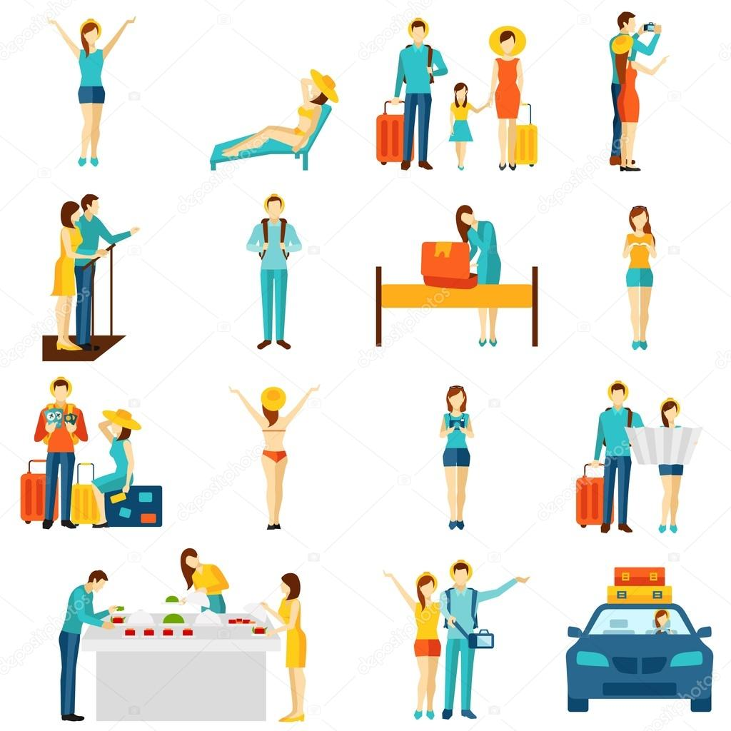 International tourism travelling flat icons set