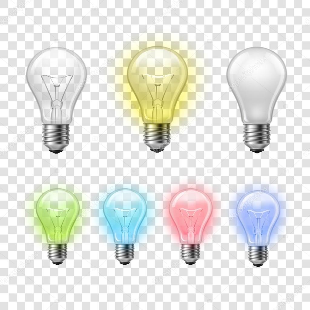 Rainbow transparent light bulbs set background