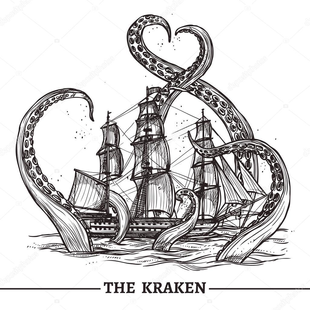 Ship And Octopus — Stock Vector © macrovector #84089546
