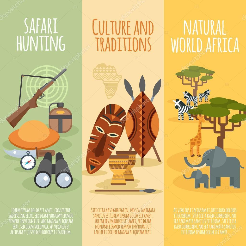 African culture flat vertical banners set