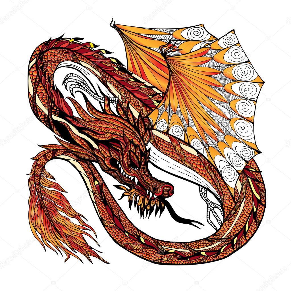 Dragon dessin couleur image vectorielle macrovector - Dessin dragon couleur ...