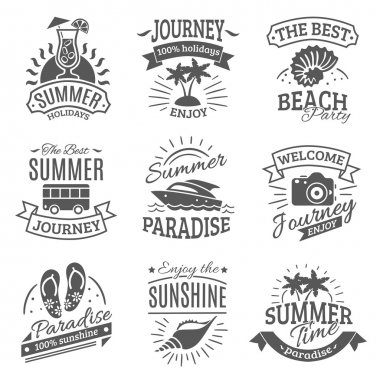 Summer holidays black labels set