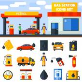 Photo Gas petrol station icons collection banner