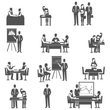 Business coaching black icons set